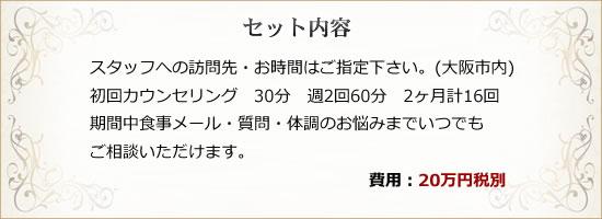 スタッフご訪問先・お時間はご指定下さい。(大阪市内) 初回カウンセリング 30分 週2回60分 2ヶ月計16回 期間中食事メール・質問・体調のお悩みまでいつでも ご相談いただけます。